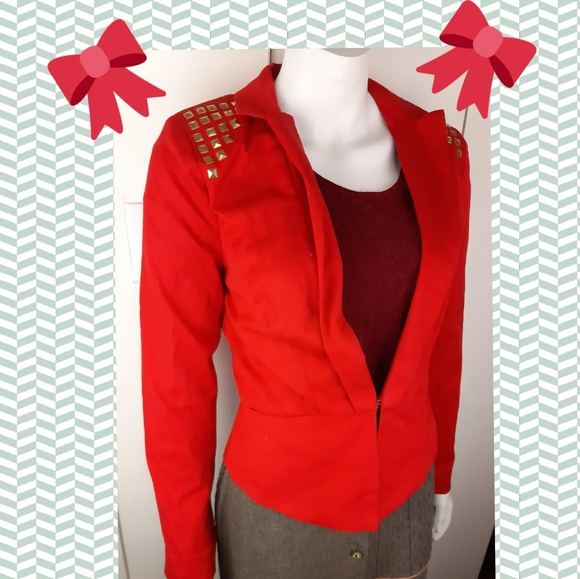 🔥 New with tags blazer jacket red with studs